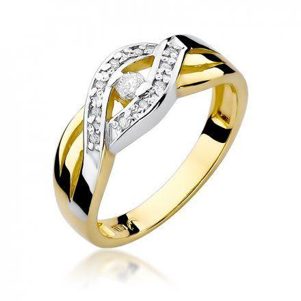 Biżuteria SAXO 14K Pierścionek z brylantami 0,10ct W-83 Złoty