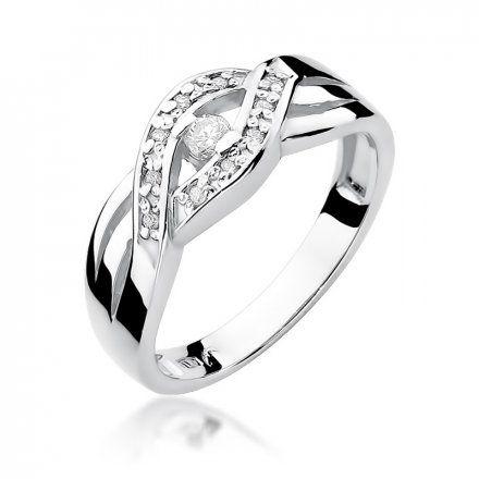 Biżuteria SAXO 14K Pierścionek z brylantami 0,10ct W-83 Białe Złoto