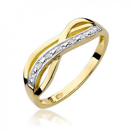 Biżuteria SAXO 14K Pierścionek z brylantami 0,06ct W-90 Złoty