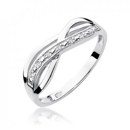 Biżuteria SAXO 14K Pierścionek z brylantami 0,06ct W-90 Białe Złoto