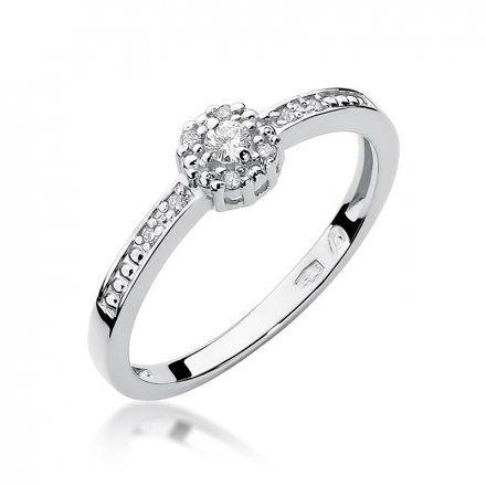 Biżuteria SAXO 14K Pierścionek z brylantami 0,09ct W-91 Białe Złoto