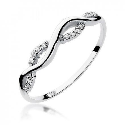 Biżuteria SAXO 14K Pierścionek z brylantami 0,07ct W-96 Białe Złoto