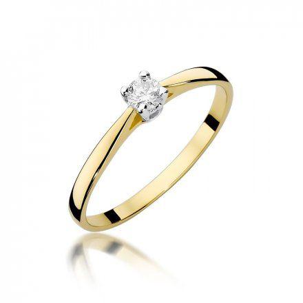 Biżuteria SAXO 14K Pierścionek z brylantem 0,15ct W-335 Złoty