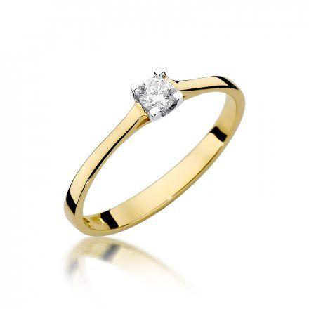 Biżuteria SAXO 14K Pierścionek z brylantem 0,15ct W-336 Złoty