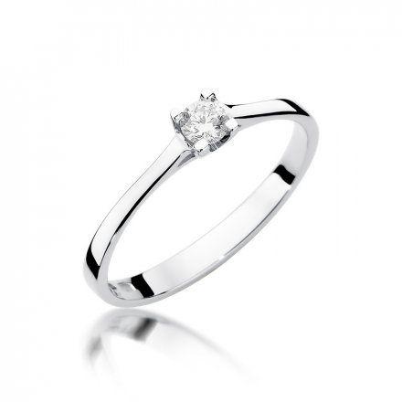 Biżuteria SAXO 14K Pierścionek z brylantem 0,15ct W-336 Białe Złoto