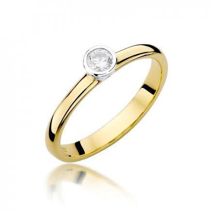 Biżuteria SAXO 14K Pierścionek z brylantem 0,15ct W-337 Złoty
