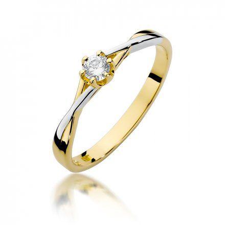 Biżuteria SAXO 14K Pierścionek z brylantem 0,12ct W-340 Złoty