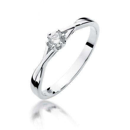 Biżuteria SAXO 14K Pierścionek z brylantem 0,12ct W-340 Białe Złoto