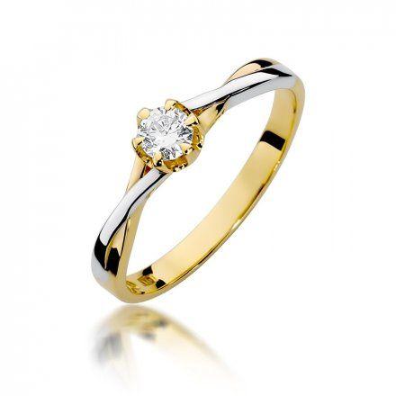 Biżuteria SAXO 14K Pierścionek z brylantem 0,23ct W-340 Złoty
