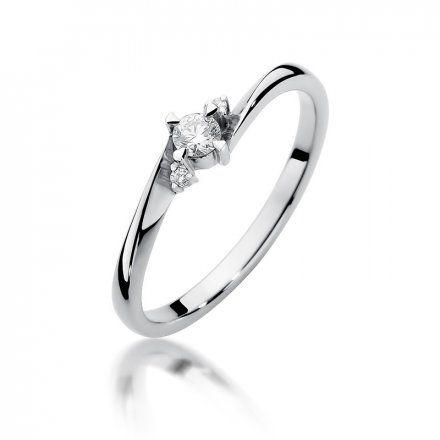 Biżuteria SAXO 14K Pierścionek z brylantami 0,12ct W-346 Białe Złoto