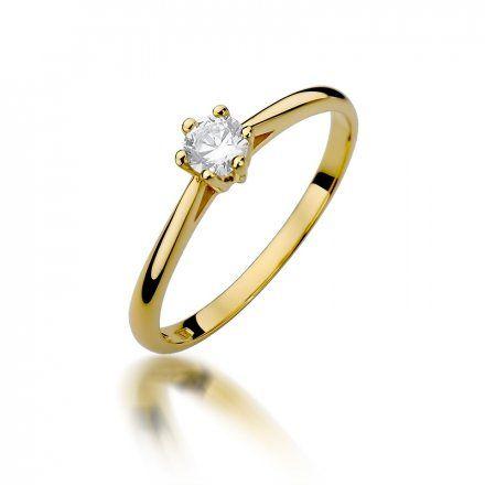 Biżuteria SAXO 14K Pierścionek z brylantem 0,15ct W-365 Złoty