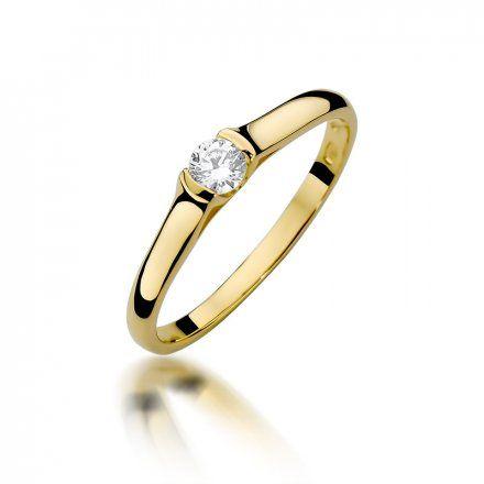 Biżuteria SAXO 14K Pierścionek z brylantem 0,15ct W-369 Złoty