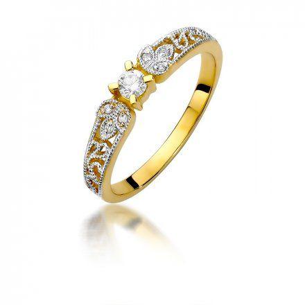 Biżuteria SAXO 14K Pierścionek z brylantami 0,13ct W-411 Złoty