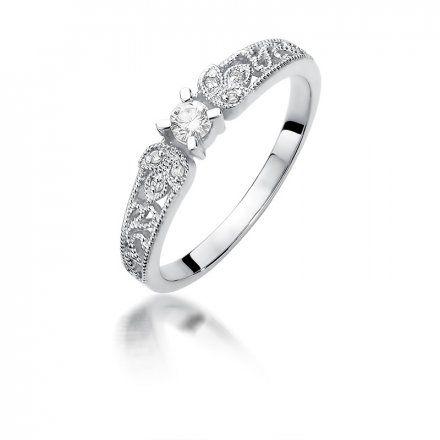 Biżuteria SAXO 14K Pierścionek z brylantami 0,13ct W-411 Białe Złoto