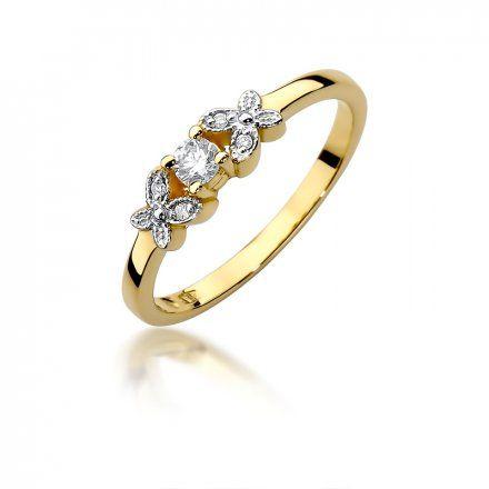 Biżuteria SAXO 14K Pierścionek z brylantami 0,12ct W-414 Złoty