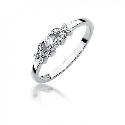 Biżuteria SAXO 14K Pierścionek z brylantami 0,12ct W-414 Białe Złoto