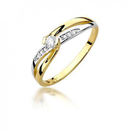 Biżuteria SAXO 14K Pierścionek z brylantami 0,13ct W-415 Złoty