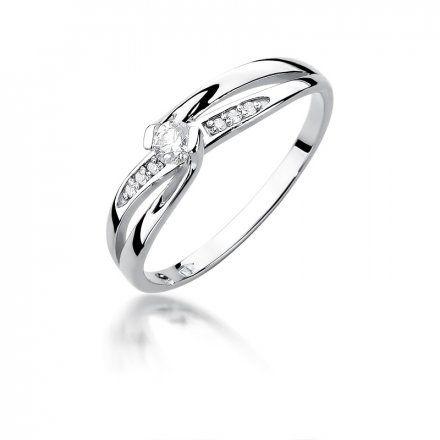Biżuteria SAXO 14K Pierścionek z brylantami 0,13ct W-415 Białe Złoto