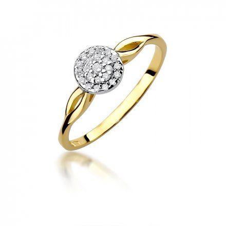 Biżuteria SAXO 14K Pierścionek z brylantami 0,12ct W-421 Złoty