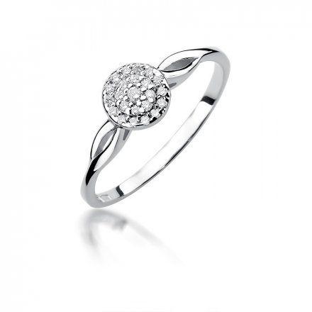 Biżuteria SAXO 14K Pierścionek z brylantami 0,12ct W-421 Białe Złoto