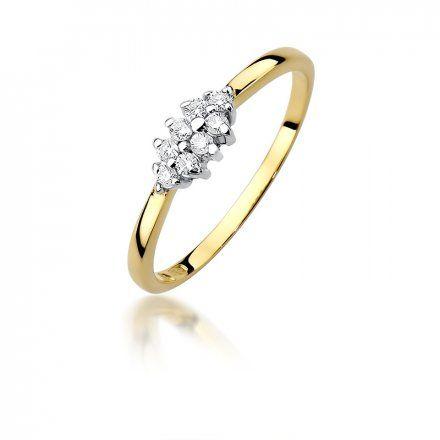 Biżuteria SAXO 14K Pierścionek z brylantami 0,11ct W-427 Złoty