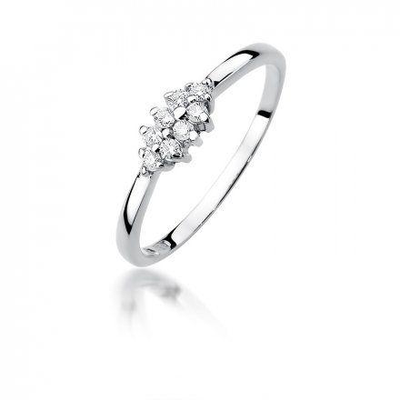 Biżuteria SAXO 14K Pierścionek z brylantami 0,11ct W-427 Białe Złoto