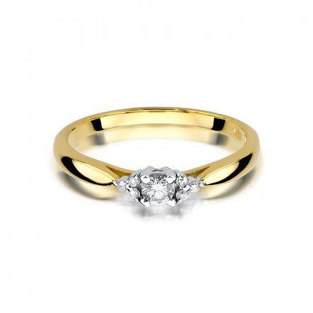 Biżuteria SAXO 14K Pierścionek z brylantami 0,13ct W-428 Złoty