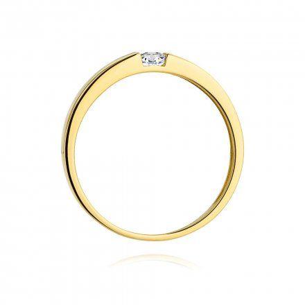 Biżuteria SAXO 14K Pierścionek z brylantem 0,12ct W-432 Złoty