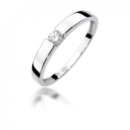 Biżuteria SAXO 14K Pierścionek z brylantem 0,12ct W-432 Białe Złoto