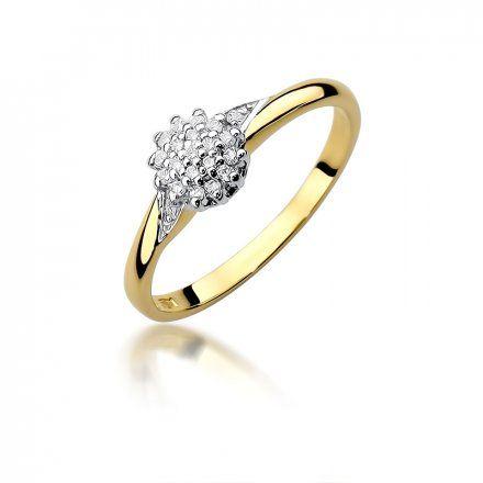 Biżuteria SAXO 14K Pierścionek z brylantami 0,11ct W-419 Złoty