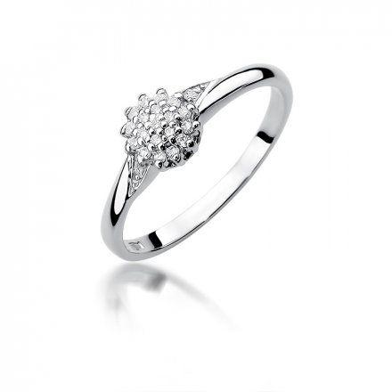 Biżuteria SAXO 14K Pierścionek z brylantami 0,11ct W-419 Białe Złoto