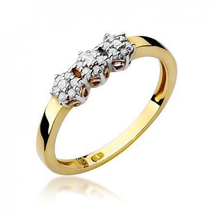 Biżuteria SAXO 14K Pierścionek z brylantami 0,12ct W-104 Złoty