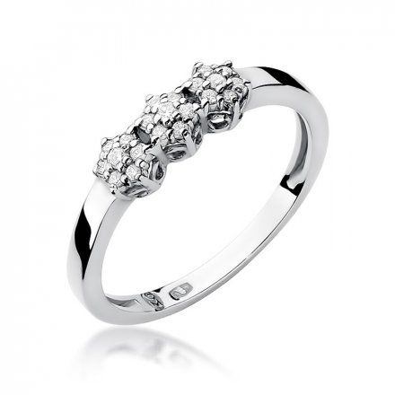 Biżuteria SAXO 14K Pierścionek z brylantami 0,12ct W-104 Białe Złoto