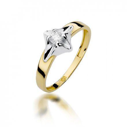 Biżuteria SAXO 14K Pierścionek z brylantem 0,12ct W-155 Złoty