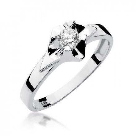 Biżuteria SAXO 14K Pierścionek z brylantem 0,30ct W-155 Białe Złoto