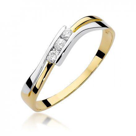 Biżuteria SAXO 14K Pierścionek z brylantami 0,12ct W-159 Złoty