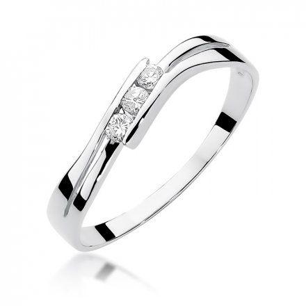 Biżuteria SAXO 14K Pierścionek z brylantami 0,12ct W-159 Białe Złoto