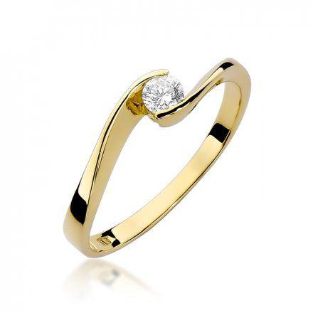 Biżuteria SAXO 14K Pierścionek z brylantem 0,13ct W-160 Złoty