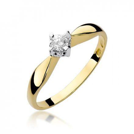 Biżuteria SAXO 14K Pierścionek z brylantem 0,12ct W-171 Złoty