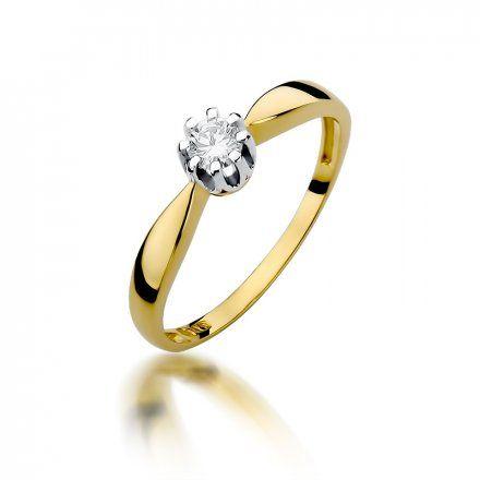 Biżuteria SAXO 14K Pierścionek z brylantem 0,15ct W-228 Złoty