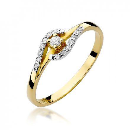 Biżuteria SAXO 14K Pierścionek z brylantami 0,11ct W-237 Złoty