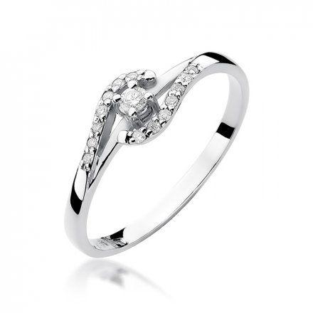 Biżuteria SAXO 14K Pierścionek z brylantami 0,11ct W-237 Białe Złoto