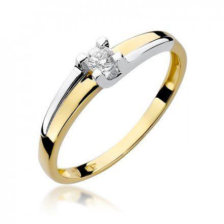 Biżuteria SAXO 14K Pierścionek z brylantem 0,12ct W-246 Złoty