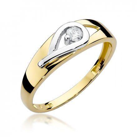 Biżuteria SAXO 14K Pierścionek z brylantem 0,12ct W-253 Złoty