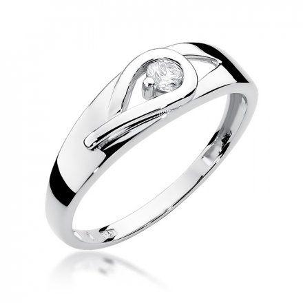 Biżuteria SAXO 14K Pierścionek z brylantem 0,12ct W-253 Białe Złoto