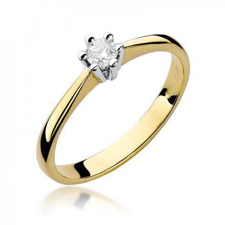 Biżuteria SAXO 14K Pierścionek z brylantem 0,15ct W-256 Złoty