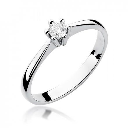 Biżuteria SAXO 14K Pierścionek z brylantem 0,15ct W-256 Białe Złoto