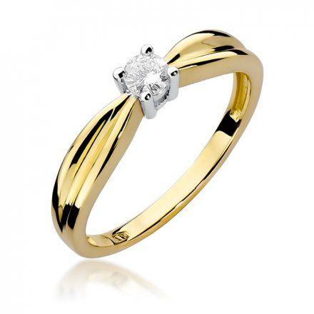 Biżuteria SAXO 14K Pierścionek z brylantem 0,15ct W-259 Złoty