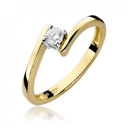 Biżuteria SAXO 14K Pierścionek z brylantem 0,15ct W-260 Złoty