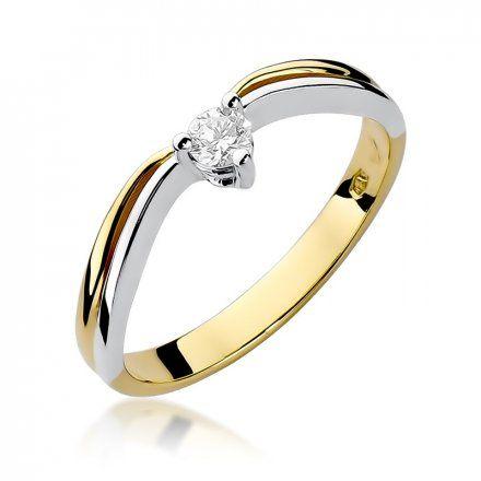 Biżuteria SAXO 14K Pierścionek z brylantem 0,15ct W-261 Złoty
